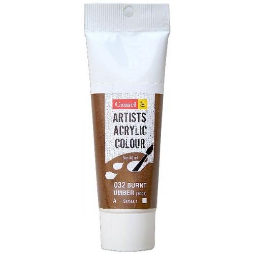 Camel Artist Acrylic Colour 40ml Tube - Burnt Umber