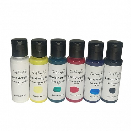 CrafTangles Liquid Acrylics / Acrylic Inks - Primary Colours  (Set of 6 colours)