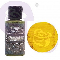 Prima Finnabair Art Alchemy Liquid Acrylic Paint 1 Fluid Ounce - True Yellow