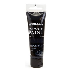 Prima Finnabair Art Alchemy Impasto Paint - Pitch Black (2.5 Fluid Ounces)
