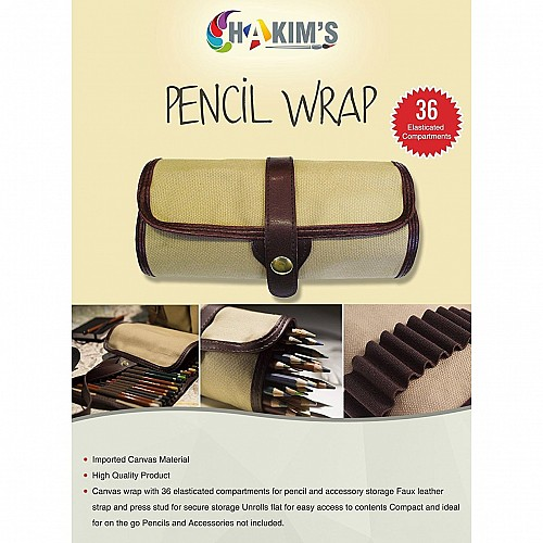 Hakims Pencil Wrap for Artists - 36 Elasticised Compartments