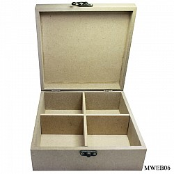 MDF slotted wooden box with partition (7.5 by 7.5 by 3 inch)
