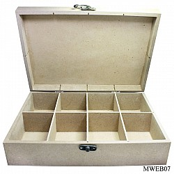 MDF slotted wooden box with partition (8 by 11 by 3 inch)
