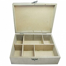 MDF slotted wooden box with partition (9 by 7 by 3 inch)