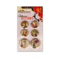 Papericious Adhesive Buttons - Paris