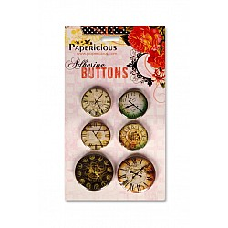 Papericious Adhesive Buttons - Vintage Time