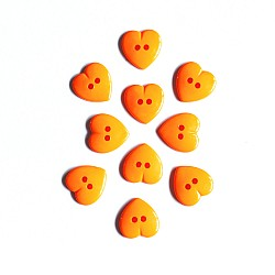 Large Plastic Heart shaped Buttons - Orange