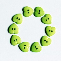 Large Plastic Heart shaped Buttons - Green