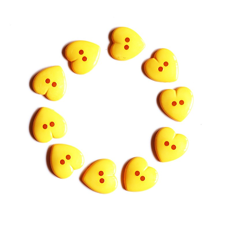 Large Plastic Heart shaped Buttons - Yellow