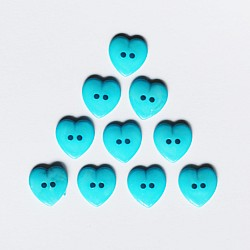 Large Plastic Heart shaped Buttons - Turquoise