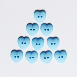 Large Plastic Heart shaped Buttons - Light Blue