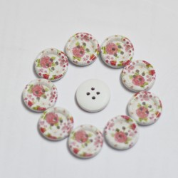 Wooden Circle Shape Button Pattern 5 - Small