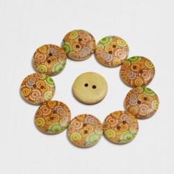 Wooden Circle Shape Button Pattern 15 - Big