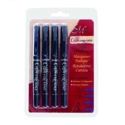 Manuscript Callicreative 4 Black Italic Marker Pens
