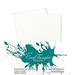 CrafTangles Notelets (Card bases and coordinating envelopes) - Textured White (10 pcs)