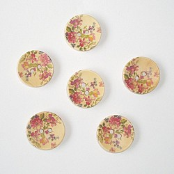 Wooden Circle Shape Button Pattern 1  - Small (Creamish Background with Dark Pink Flowers)