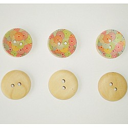 Wooden Circle Shape Button Pattern 2 - Small (Creamish Background with muti colored circles)