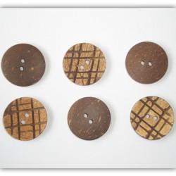 Wooden Circle Shape Button Pattern 3 - Big