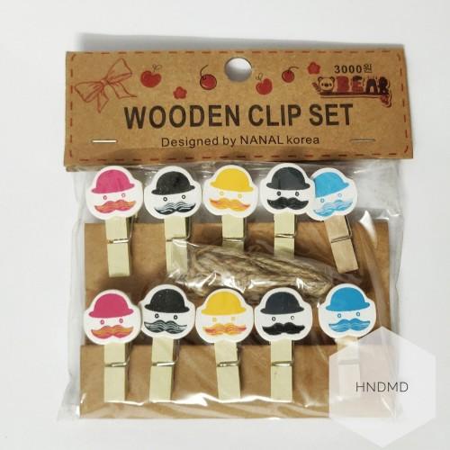 Assorted Wooden Clips - Funny Gentlemen