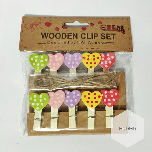 Assorted Wooden Clips - Pastel Hearts