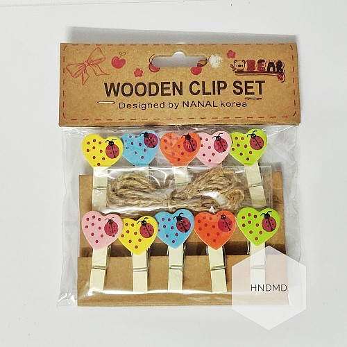 Assorted Wooden Clips - Vibrant Hearts