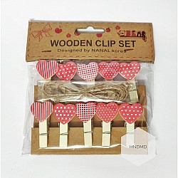 Assorted Wooden Clips - Valentine Hearts