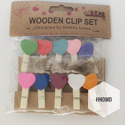 Assorted Wooden Clips - Colourful Hearts