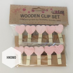 Assorted Wooden Clips - Pink Patterned Hearts