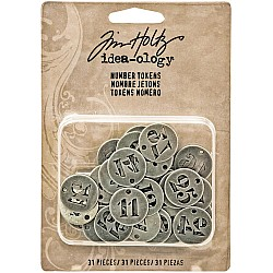 "Tim Holtz ideaology Metal Number Tokens 31/Pkg (Antique Silver .75"")"