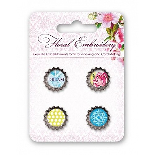 Scrapberrys Metal Cork Embellishment - Floral Embroidery