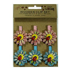 Wooden Clip Set - Patterned flower with beetles