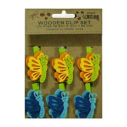 Wooden Clip Set - Colorful Butterflies
