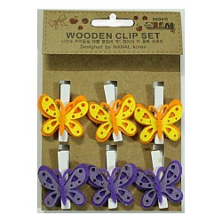 Wooden Clip Set - Butterflies