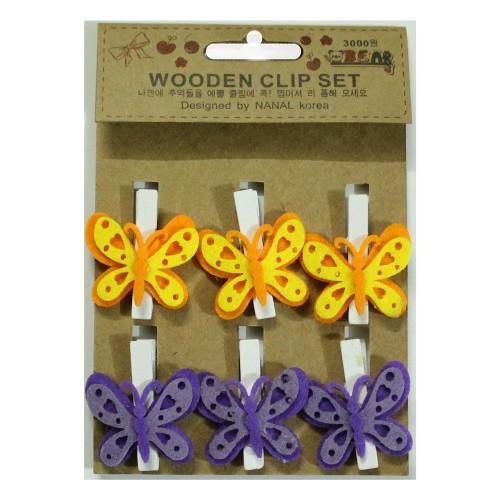 Wooden Clip Set - Butterflies
