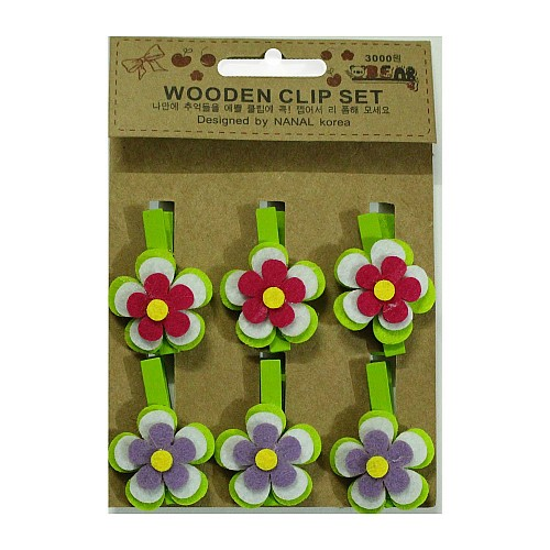 Wooden Clip Set - Spring flowers