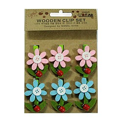 Wooden Clip Set - Flower with beetles