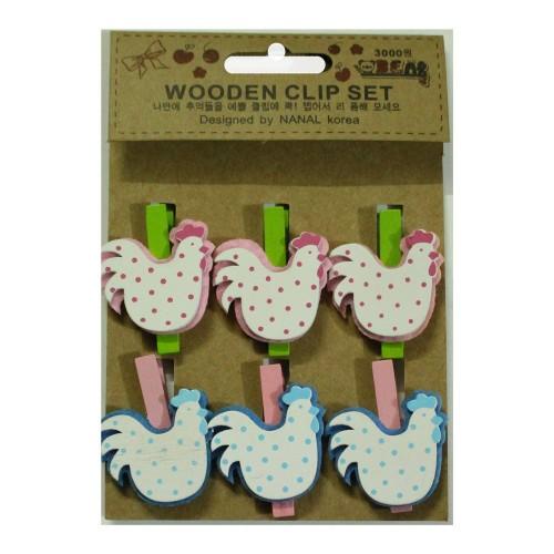 Wooden Clip Set - Hens