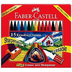 Faber Castell Erasable Plastic Crayons - Extra Long (Pack of 15)