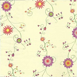 A pack of 12 by 12 inch Decoupage Napkins(5 pcs)  - Floral Design 8