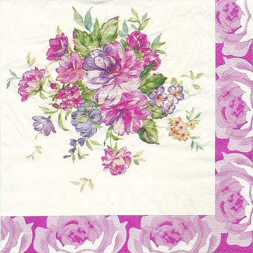 A pack of 12 by 12 inch Decoupage Napkins(5 pcs)  - Floral Design 11