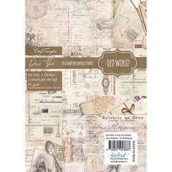 CrafTangles Deco Thin Decoupage Paper A3 (45 gsm) - Old World - 2 sheets