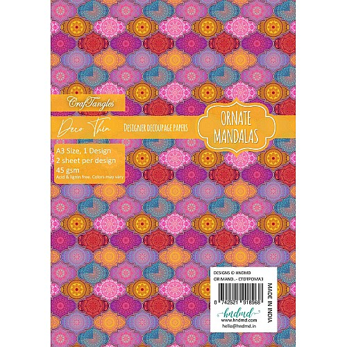 CrafTangles Deco Thin Decoupage Paper A3 (45 gsm) - Ornate Mandalas - 2 sheets