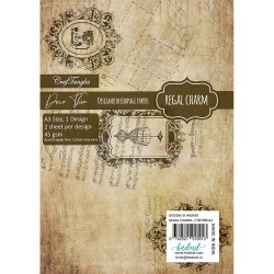 CrafTangles Deco Thin Decoupage Paper A3 (45 gsm) - Regal Charm - 2 sheets