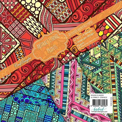 CrafTangles Decoupage Paper Pack  - Abstract Ethnic Prints (12 by 12 inch) - 4 sheets