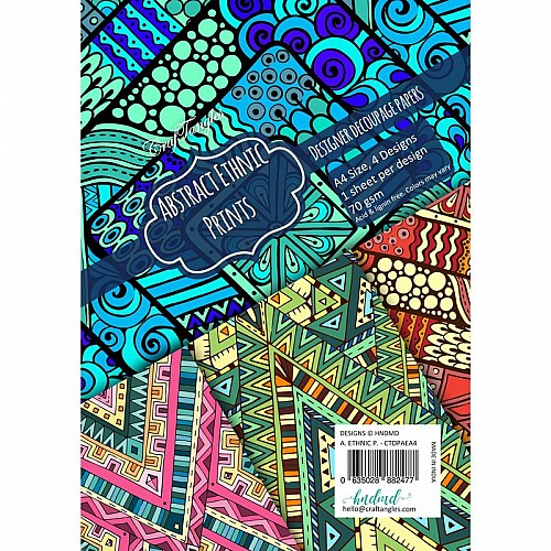 CrafTangles Decoupage Paper Pack  - Abstract Ethnic Prints (A4) - 4 sheets