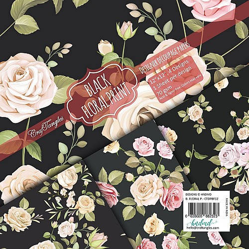 CrafTangles Decoupage Paper Pack  - Black Floral Print (12 by 12 inch) - 4 sheets