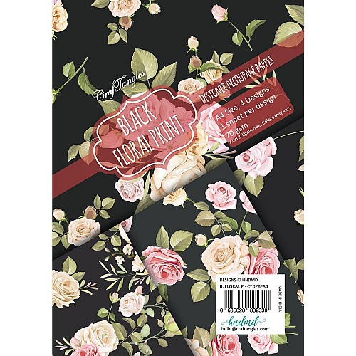 CrafTangles Decoupage Paper Pack  - Black Floral Print (A4) - 4 sheets