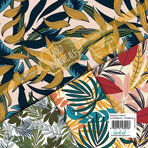 CrafTangles Decoupage Paper Pack  - Bold Botanicals (12 by 12 inch) - 4 sheets