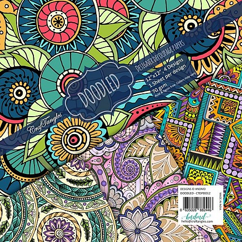 CrafTangles Decoupage Paper Pack  - Doodled (12 by 12 inch) - 4 sheets