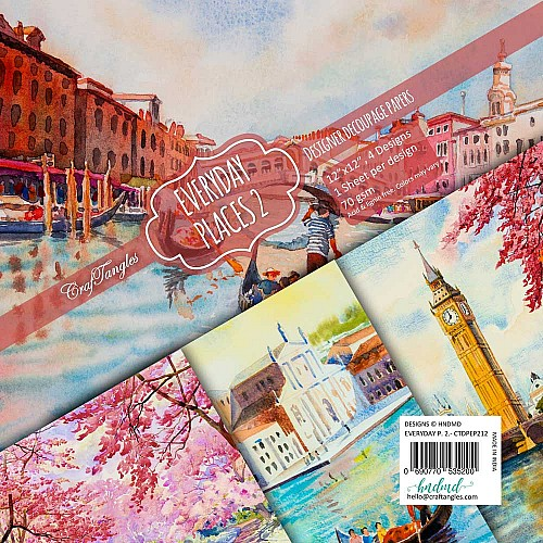 CrafTangles Decoupage Paper Pack  - Everyday Places 2 (12 by 12 inch) - 4 sheets